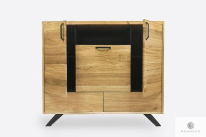 Industrial chest of drawers of solid wood metal to living room JORGEN