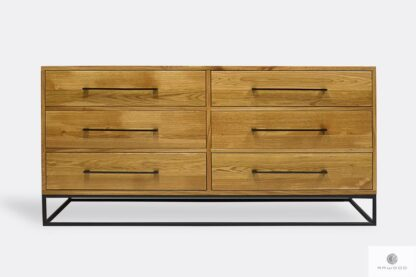 Industrial chest of drawers of oak wood to living room bedroom MERIS