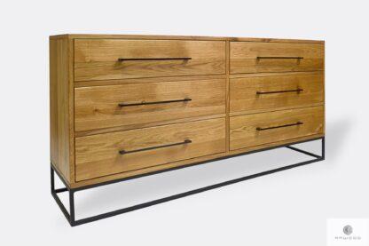 Industrial oak dresser with drawers to bedroom MERIS