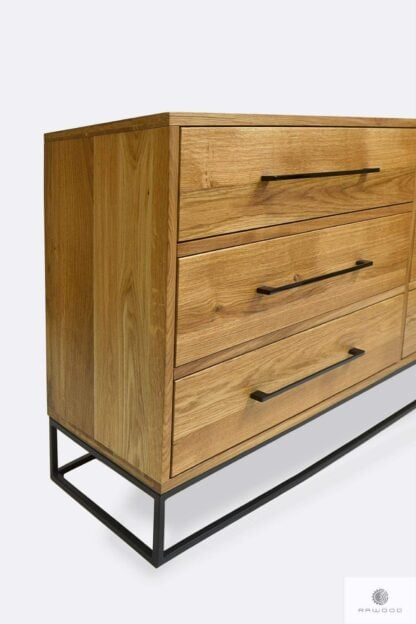 Chest of drawers in industrial style with drawers and handles MERIS