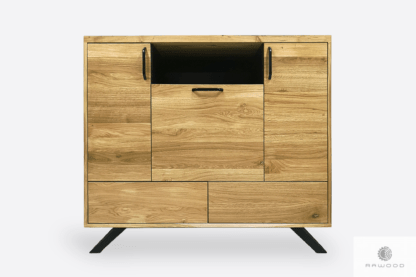 Modern chest of drawers of solid oak wood to bedroom living room JORGEN
