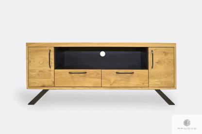 TV cabinet of oak wood and steel to living room JORGEN