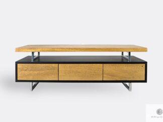 TV cabinet of oak wood and laminated board on metal legs NESCA II