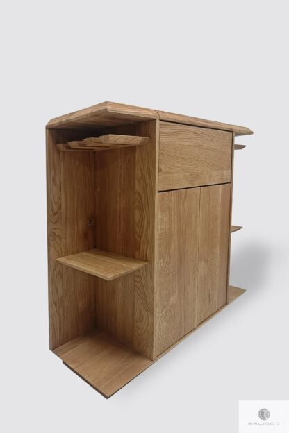 Oak bar cabinet for alcohol and glasses to dining room living room CARMEN I Furniture Manufacturer RaWood Premium Furniture