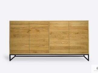 Oak chest of drawers of solid wood and metal MERIS I