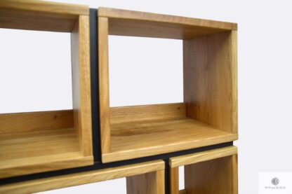 Bookcase of solid wood and laminated board for order LIVO