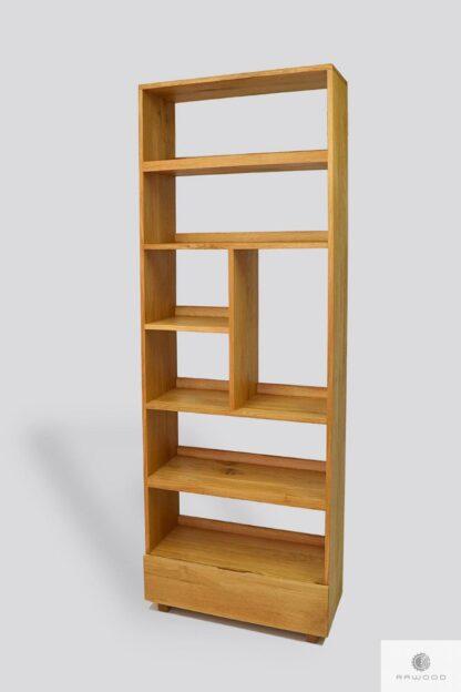 Dębowy regał na książki z drewna litego do salonu gabinetu DAVOS Producent Mebli RaWood Premium Furniture
