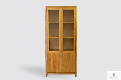 Oak display cabinet for books of solid wood to living room office DAVOS