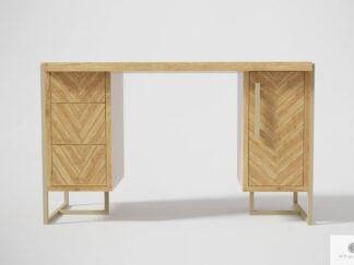 Dębowe biurko gabinetowe z drewna i stali do biura gabinetu CARIN II