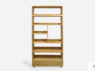Oak bookcase of solid wood to living room office DAVOS