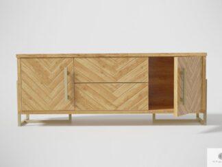 Modern herringbone TV cabinet of solid wood to living room CARIN