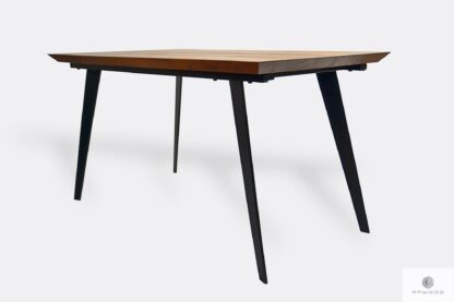 Industrial oak table on metal legs to dining room CORTEZ