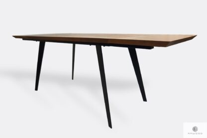 Modern oak extandable table with extension plates with metal legs CORTEZ