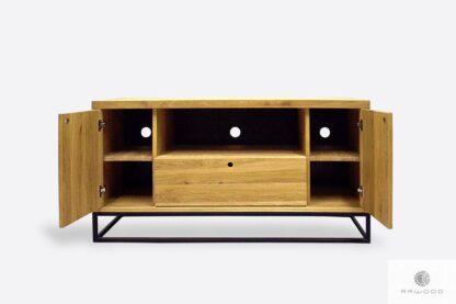 TV cabinet of solid oak wood on metal legs MERIS