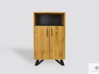 Oak cabinet of solid wood and metal to living room JORGEN II