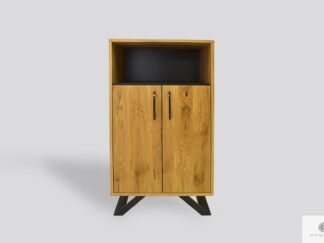 Oak bookcase to living room of solid wood and metal JORGEN II