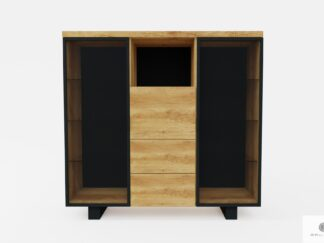 Wooden bar cabinet for alcohol and glasses to living room DELIO