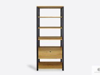 Industrialny regał loftowy dębowy na książki do salonu gabinetu MILAN