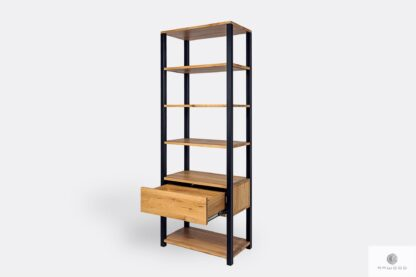 Industrial bookcase with shelves and drawer