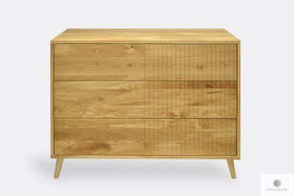 Chest of drawers of solid wood on legs NESS
