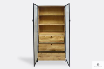 Oak big industrial display cabinet with shelves to dining room CARLA II