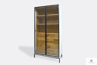 Wooden glass display cabinet with drawers shelves to office CARLA II