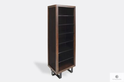 Industrial bookcase of solid wood and steel to living room MOCCA II