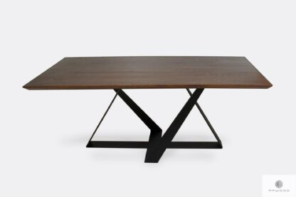 Industrial oak table on metal base BORNEO I