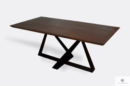 Table with oak tabletop of solid wood to dining room BORNEO I