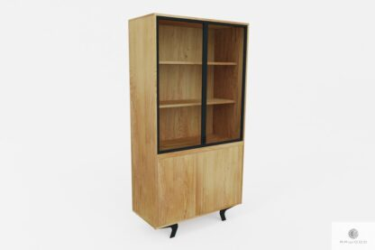 Industrial oak display cabinet with shelves to living room office VITA
