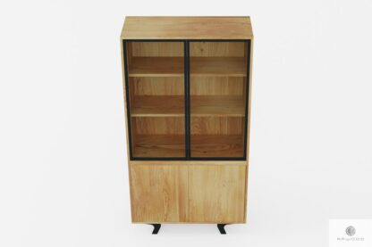 Oak display cabinet of solid wood and steel industrial loft to living room VITA