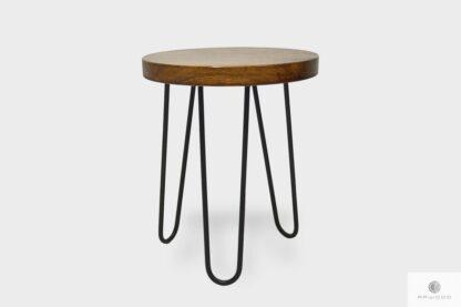Loft stool of solid wood on metal legs LOFT