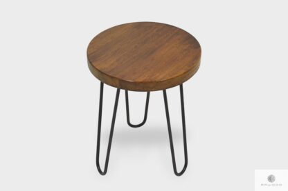 Stool of solid wood and metal to living room LOFT