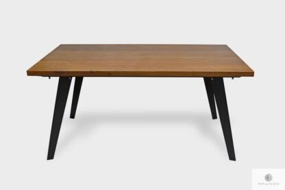 Oak table with extension plates on metal legs CORTEZ