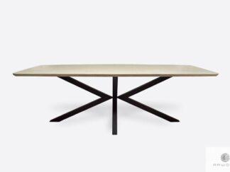 Modern industrial oak table on metal legs to dining room VERDA
